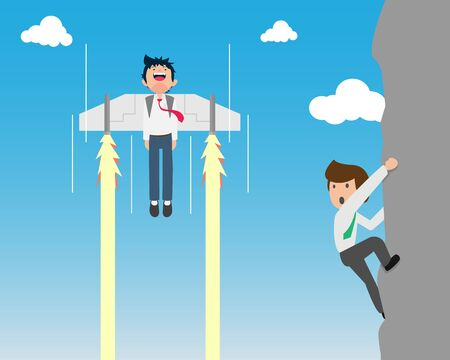 Salary Man are Bunged up Quickly with a Rocket Attached to the Back. If you have a good plan, a good business plan, you will reach faster than others.  Startup
