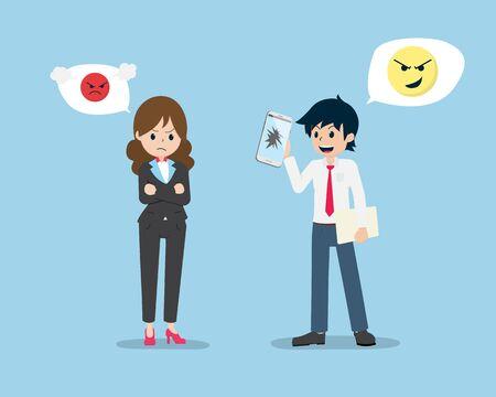 Gehaltsmann hält ein kaputtes Telefon und täuscht den Verkauf an den Kunden. Gute Verkäufer sollten Verkaufsethik haben.