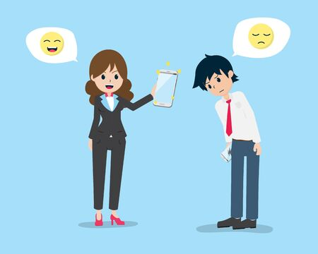 flat cartoon salaryman is apologizing to the customer And bring quality products to change
