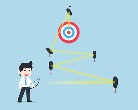 SD Business man shoots through difficult obstacles to the center of the target precisely. If there is a good plan, there are no obstacles, problems or obstacles.