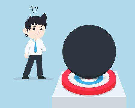 SD Business Man Think of a way to remove the giant ball that is superimposed on the target. There are many obstacles that prevent us from reaching our goal. Illustration