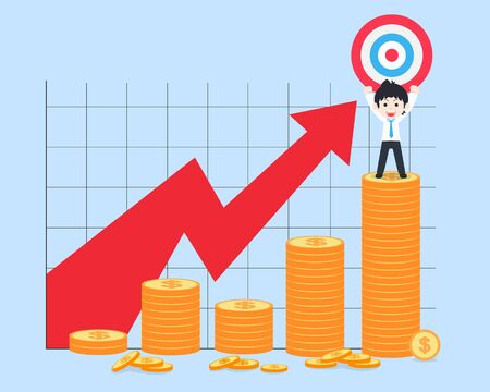 SD Business Man Stand holding the target on the bar chart of coins highest point. If you have a good business plan. You will get a profit. Vettoriali
