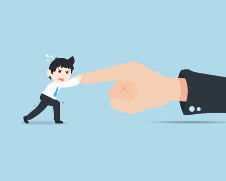 SD Business Man Is being pushed by the large business hand. Business inevitably has obstacles.