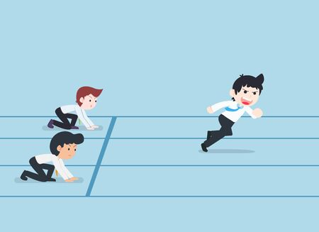 SD Business Man Running Competition If they have good preparation, start first. Prepare a good business plan We will have a competitive advantage.  イラスト・ベクター素材