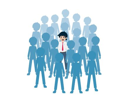 Salary Man Standing among many people.Make yourself stand out.