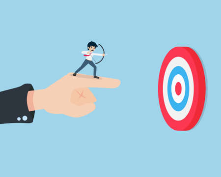 Salary Man Stand and holding a bow on the giant hand pointing to the target. If there is someone guiding well, then the goal will be clearly seen. Vecteurs
