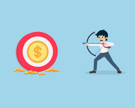 Salary Man Hold the bow and aim the coin at the center of the target. The goal is rewards.