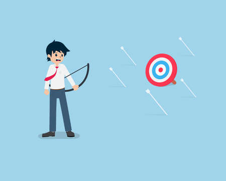 Salary Man Shoot an arrow at the target but not hit the target at all. Without a good plan, it may be difficult to succeed.
