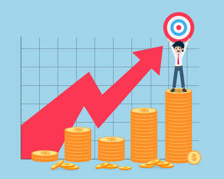 Salary Man Stand holding the target on the bar chart of coins highest point. If you have a good business plan. You will get a profit.