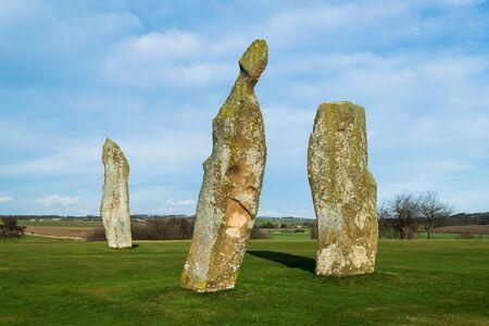 Prehistoric standing stones, Lundin golf course. Largo. Scotland 写真素材