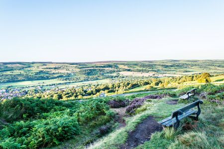 A bench overlooking the moors with excellent views