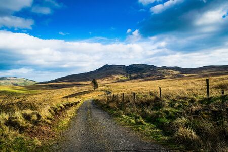 A track going towards the Ochil hills in Scotland