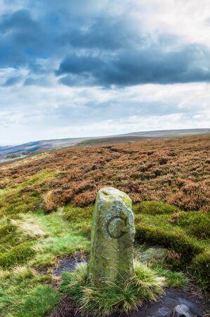 An ancient boundary marker. Ilkley moor. Yorkshire