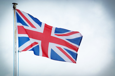 The Union Jack blows in the wind, the Union Jack is the flag of the UK