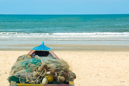 A boat on Kotu beach in The Gambia, West Africa