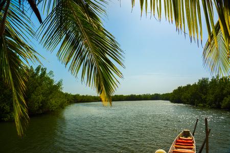 西アフリカ、ガンビアのママストゥ・フォルスト付近のガンビア川のカヌー