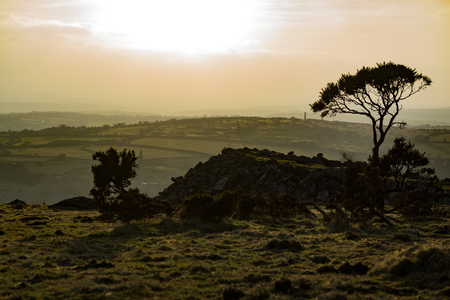 The moors of Liskeard, Cornwall, UK at sunset.