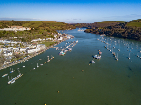 A photograph taken from the air looking up the river Dart from Dartmouth.