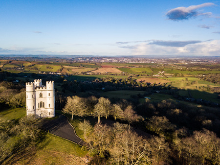 An aerial view of Belvedere castle at Haldon forest in Devon, United Kingdom Editorial