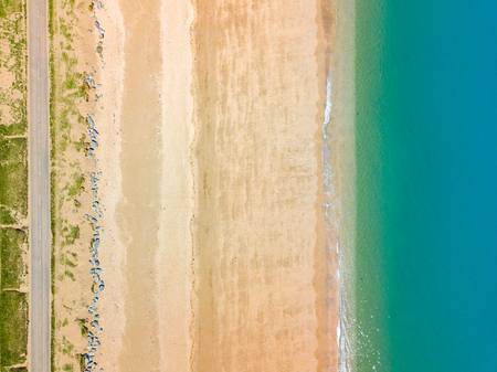 An aerial drone  photograph taken looking straight down on Slaptop Sands in Devon, UK Banco de Imagens