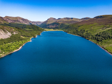 A landscape of Ennerdale Water located in the Lake District, Cumbria, UK