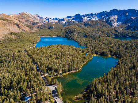 An aerial landscape of Twin Lakes and the surrounding mountains located in Mammoth Lakes, California, USA