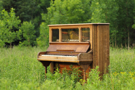 Old upright wood piano that has been abandoned in a green field  meadow  prairie.