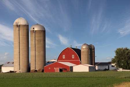 silo: Rural farm scene with a dramatic sky and copy space.