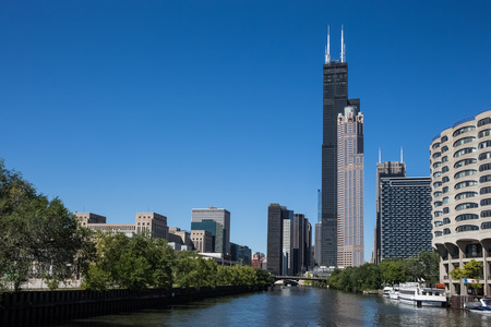 Chicago Skyscrapers - various Chicago skyscrapers including the Willis Tower (formerly Sears Tower). Stock Photo