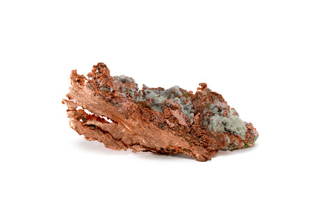 impurities: Close-up of a native copper nugget with crystal impurities.  Studio macro.  Isolated on white.  Sample is from Upper Michigans Keweenaw Peninsula.