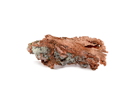 impurities: Close-up of a native copper nugget with crystal impurities.  Studio macro.  Isolated on white.  Sample is from Upper Michigan Stock Photo