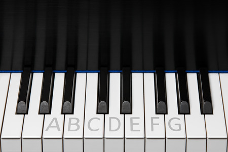 keyboard instrument: Section of piano keyboard showing one octave plus two extra keys on each end.  Notes labeled as with a music student.  Key reflection in backboard.  Copy space in upper half of frame.