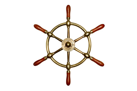 distressing: Unique and old brass ships wheel isolated on white.  Some texture and distressing. Stock Photo