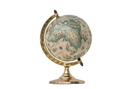 Antique world globe isolated on white background.  Studio close up.  Showing Africa and some of Middle East. Stock Photo