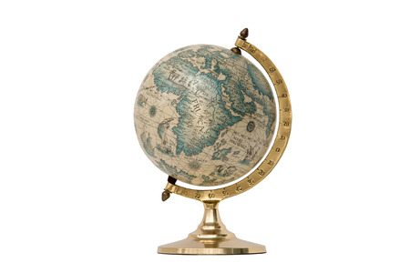 Antique world globe isolated on white background.  Studio close-up.  Showing Africa and some of Middle East. Фото со стока