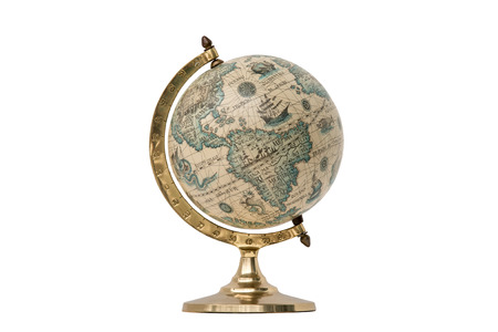 Antique world globe isolated on white background.  Studio close up.  Showing North America and South America.
