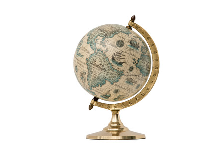 Antique world globe isolated on white background.  Studio close-up.  Showing North America and South America.