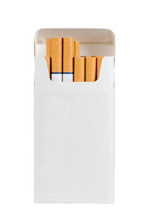 cigarette pack: Photograph of a pack of filtered cigarettes with blue rings.  Straight on view with a few cigarettes sticking out of box.  Isolated on a white background.  Copy space on cigarette pack. Stock Photo