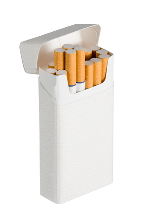cigarette pack: Photograph of a pack of filtered cigarettes with blue rings.  Oblique view with a few cigarettes sticking out of box.  Isolated on a white background.  Copy space on cigarette pack. Stock Photo