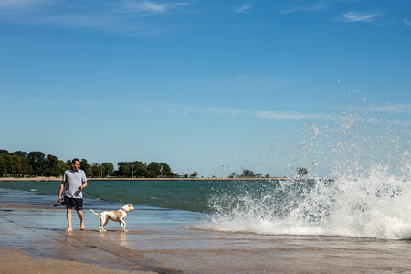 962014 Chcago  Man walking his dog at Chicago lakeshore north of Oak Street Beach.  Man and dog are looking at Lake Michigan waves crashing ashore.  While Chicago is a large urban area its extensive lakeshore offers numerous outdoor activities for residen