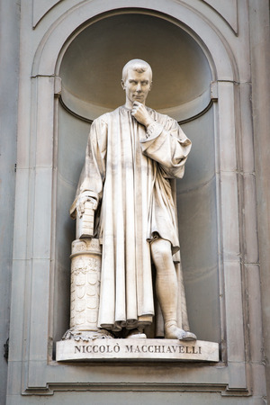 Statue of Italian Renaissance diplomat and writer Niccolo Machiavelli outside of the Uffizi Gallery in Florence, Italy.  Machiavelli is considered the Father of Modern Political Science and the man behind the term Machiavellian.  Concepts could include hi