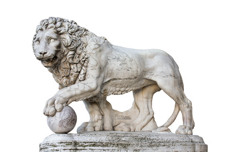 medici: Famous Medici Lion statue by Vacca (1598).  Sculpted of marble and located on the Piazza della Signoria in Florence, Italy.  Isolated on a white background.  Concepts could include art, history, power, culture, others.