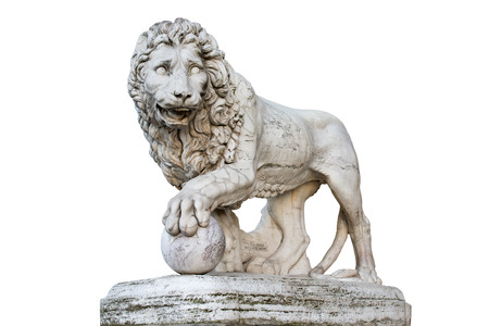 Famous Medici Lion statue by Vacca (1598).  Sculpted of marble and located on the Piazza della Signoria in Florence, Italy.  Isolated on a white background.  Concepts could include art, history, power, culture, others.