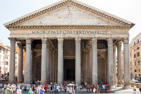 best ad: ROME, ITALY - July 25, 2015:  The Pantheon is the best preserved building from ancient Rome.  It was completed in 125 AD as a temple to the Roman gods and converted to a church in 608 AD.