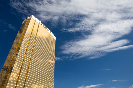 donald: Las Vegas, USA - October 28, 2016:  Trump International Hotel in Las Vegas, NV set against a dramatic blue sky.  Named for US real estate developer and politician Donald Trump, the 64-story luxury propertys exterior windows are gilded with 24-carat gold.