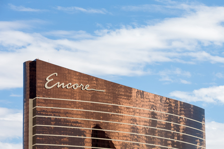 Las Vegas, USA - October 28, 2016:  Encore Hotel in Las Vegas, NV set against a blue sky.  The Encore is a hotel, resort, casino, and sister property to the Wynn.  The combined properties form the world seventh largest hotel.  Both are headed by casino de Editorial