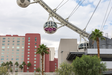 Las Vegas, USA - October 28, 2016:  The 520-foot diameter High Roller is the world's largest observation wheel and a dominant landmark in Las Vegas.