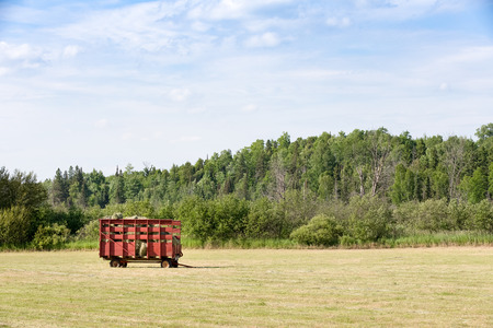 Red hay wagon full of freshly cut hay in a farm field.  Copy space in sky if needed. Stock Photo