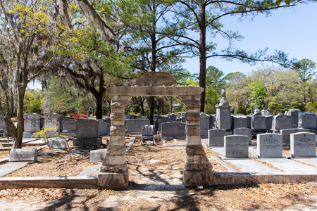 Savannah, GA - March 28, 2017:  Jewish section of historic Bonaventure Cemetery, Savannah.  The gate is in accordance with Jewish tradition and the cemetery remains in use today.