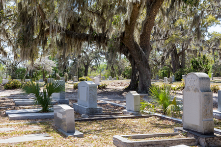 Historic Bonaventure Cemetery in Savannah, GA.  Jewish headstone with Star of David prominent in the foreground.  Large oak tree with hanging Spanish moss.